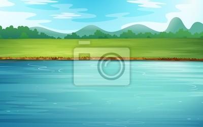 Naklejka Rzeka i piękny krajobraz
