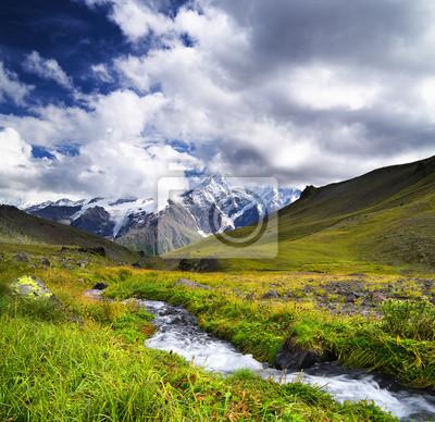 Rzeka na obszarze górskim. Piękny naturalny krajobraz