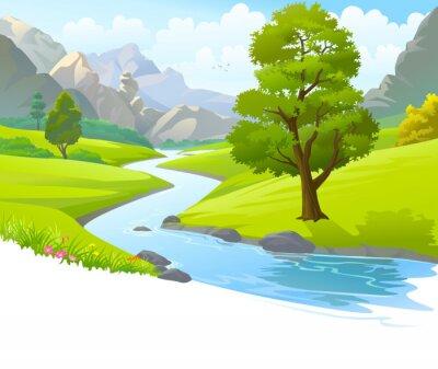 Naklejka Rzeka płynąca przez góry i malownicze pola zielone