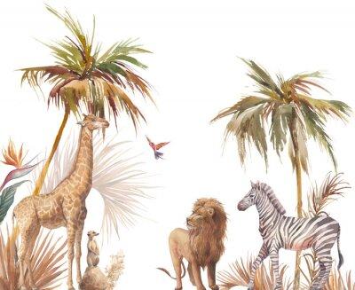Naklejka Safari wildlife wallpaper. Illustration with zebra, lion and giraffe. Watercolor animal and jungle flora on white background.