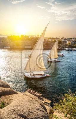 Naklejka Sailboats in Aswan