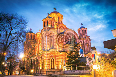 Naklejka Saint Mark church at night in Belgrade, Serbia