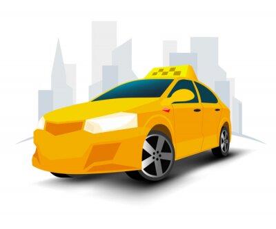 Naklejka Samochód taksówki z miastem izolowanym