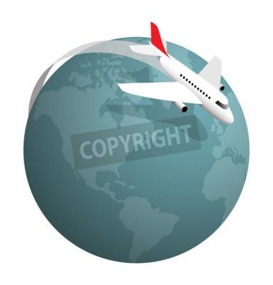 Naklejka Samolot latający wokół globu, ilustracji wektorowych na białym tle