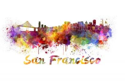 Naklejka San Francisco Skyline w akwareli