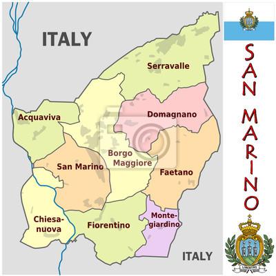 San Marino Mapa Europa.San Marino Europa Godlo Mapa Symbol Motto Naklejki Redro