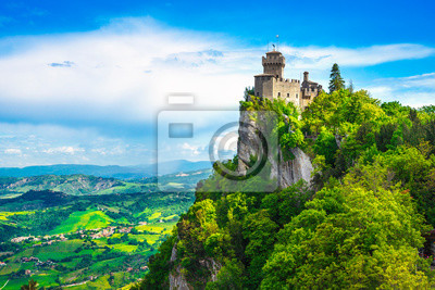 Naklejka San Marino, medieval tower on a rocky cliff and panoramic view of Romagna