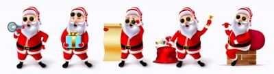 Naklejka Santa claus christmas character vector set. Cool and jolly santa claus 3d characters with sunglasses in standing, reading and holding pose and gesture for xmas design. Vector illustration.