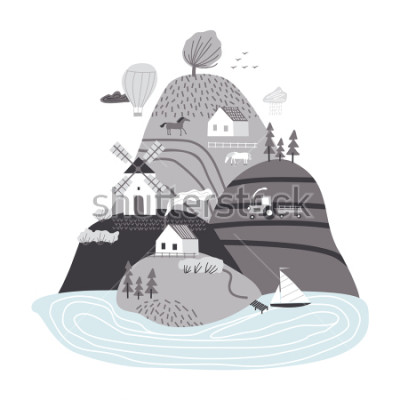 Naklejka Scandinavian landscape. Hand drawn vector abstract scandinavian graphic illustration with houses, trees and hills. Cute landscape.