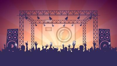Naklejka Scene, crowd of fans, rock concert, music festival, night club