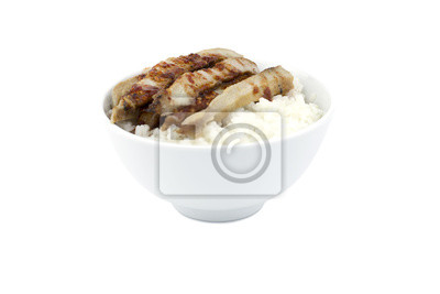 Naklejka Schab z grilla z ryżem japońskim