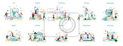 Naklejka School subject set. Idea of education and science