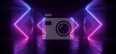 Naklejka Sci Fi Arrows Shaped Neon Cyber Futuristic Modern Retro Alien Dance Club Glowing Purple Pink Blue Lights In Dark Empty Grunge Concrete Reflective Room Corridor Background 3D Rendering