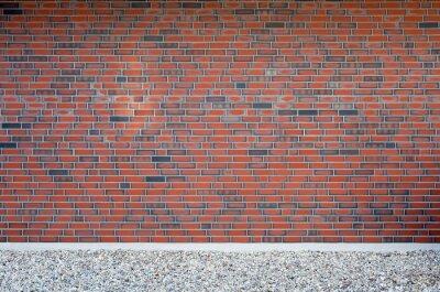 Naklejka ściany z cegły na pierwszym planie żwiru, Szczegółowo