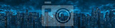 Naklejka Science fiction city night panorama / 3D illustration of dark futuristic sci-fi city under dark cloudy night sky