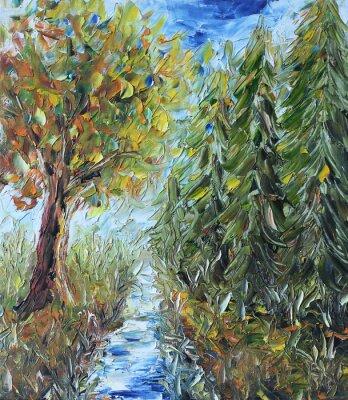 Naklejka Ścieżka przez las, obraz olejny