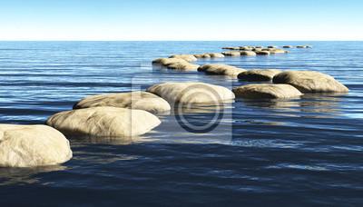 Naklejka ścieżka z kamieni na wodzie