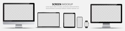 Naklejka Screen mockup. Computer monitors, laptop, tablet, smartphone and smartwatch with blank screen for design