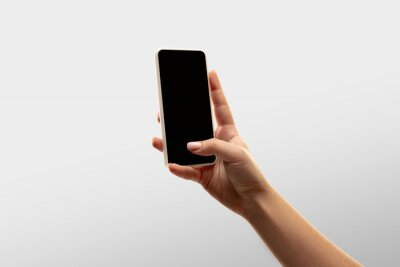 Naklejka Scrolling. Close up female hands holding smartphone with blank screen during online watching of popular sport matches, championships. Copyspace for ad. Devices, gadgets, technologies concept.