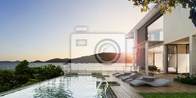 Naklejka Sea view swimming pool in modern loft design,Luxury ocean Beach house