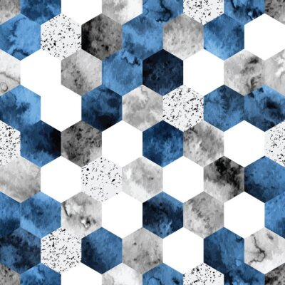 Naklejka Seamless abstract geometric pattern with gray and deep blue watercolor hexagons