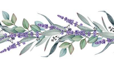 Naklejka Seamless border from lavender and eucalyptus watercolor illustration. Natural organic herbs mixed in elegant ornament. Hand drawn eucalyptus branch with lavender flowers in elegant seamless border