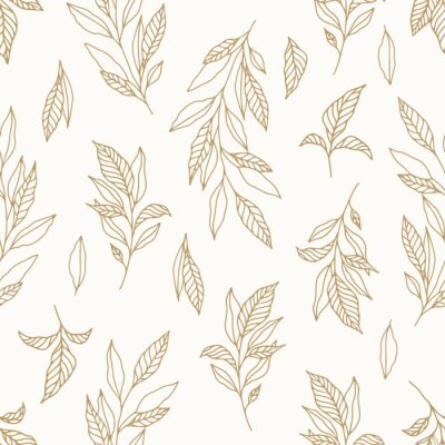 Naklejka Seamless cute floral vector pattern with plant and flowers. Flower background.