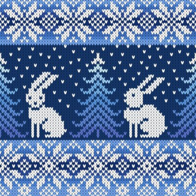 Naklejka Seamless dzianiny wzór z płatki śniegu i królików