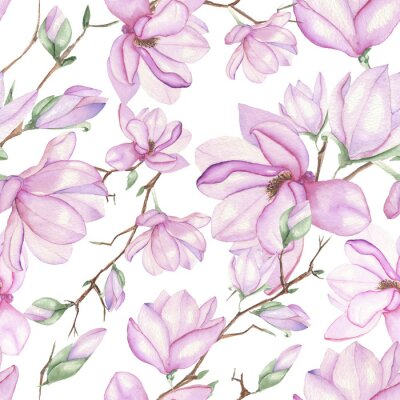 Naklejka Seamless floral pattern with magnolias painted with watercolors on white background