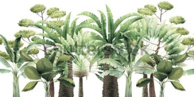 Naklejka Seamless floral pattern with tropical trees on summer background. Template design for textiles, interior, clothes, wallpaper. Watercolot illustration.  Botanical art