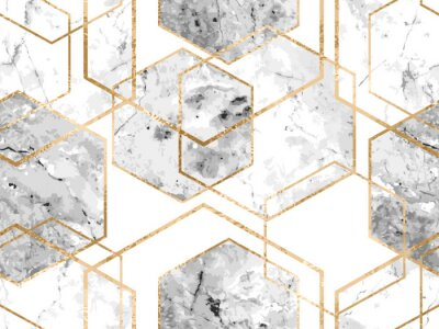 Naklejka Seamless geometric pattern with gold glitter lines and marble polygons