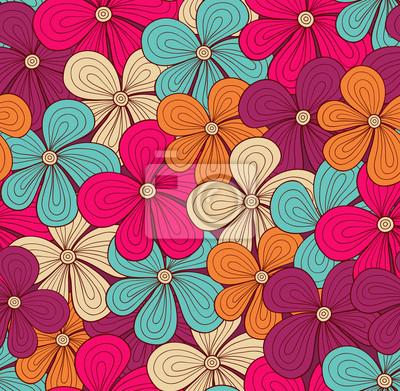 Naklejka Seamless jasny kwiatowy wzór. Ilustracja wektorowa