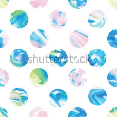 Naklejka Seamless marble polka dot pattern. Abstract watercolor shapes in rainbow.