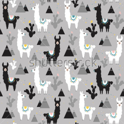 Naklejka Seamless pattern of llama, cactus and mountains. Great for fabric, textile. Vector background.