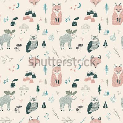 Naklejka seamless pattern of woodland animals, trees, mountains