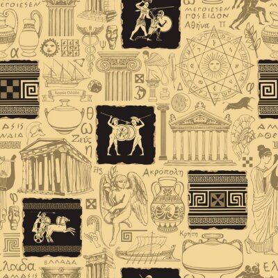 Naklejka Seamless pattern on the theme of Ancient Greece. Vector background, Wallpaper, wrapping paper, fabric with hand-drawn symbols of ancient Greek culture and architectural landmarks in retro style