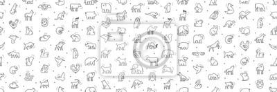 Naklejka Seamless pattern with Animals icons. Animal icons set. Isolated on White background