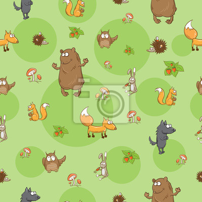 Naklejka Seamless pattern with cute cartoon forest animals on a green background.