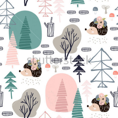 Naklejka Seamless pattern with hedgehog, forest elements. Creative woodland height detailed background. Perfect for kids apparel,fabric, textile, nursery decoration,wrapping paper.Vector Illustration