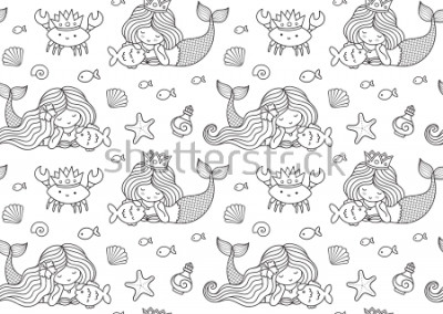 Naklejka Seamless pattern with little lying mermaid, big fish, krabbe, crown. Print design for coloring book, textile, fabric, posters, decor, greeting cards, paper, clothes, wallpaper. Vector illustration.