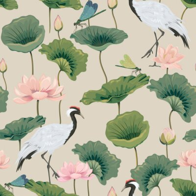 Naklejka seamless pattern with lotuses and Japanese cranes