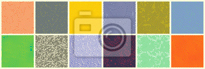 Naklejka Seamless patterns, abstract organic lines color backgrounds set. Biological patterns with yellow, purple and blue memphis dots, irregular squiggle lines and abstract shape texture