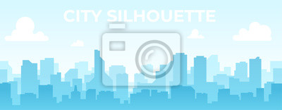 Naklejka Seamless silhouette of the city. Cityscape with buildings. Simple blue background. Urban landscape. Beautiful template. Modern city with layers. Flat style vector illustration.