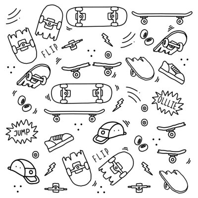 Naklejka Seamless skateboard equipment doodle art