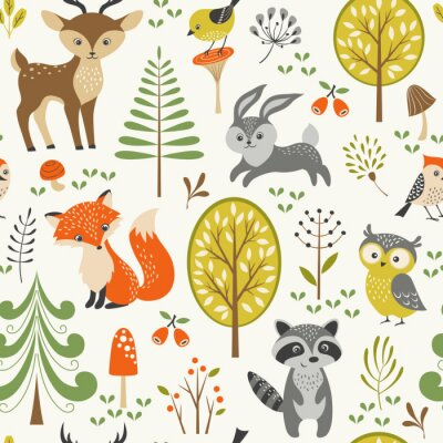 Naklejka Seamless summer forest pattern with cute woodland animals, trees, mushrooms and berries