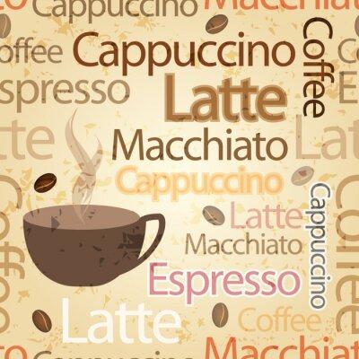 Naklejka Seamless, tło rocznik typografia kawa tematyczne