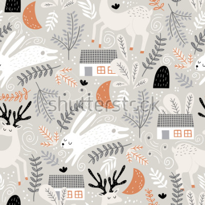 Naklejka Seamless woodland pattern with deer, bunny and forest house. Creative kids for fabric, wrapping, textile, wallpaper, apparel. Vector illustration