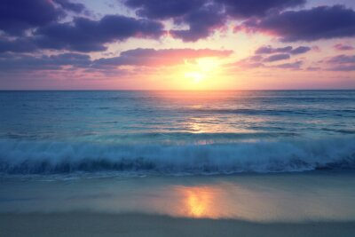 Seascape, sunset over the sea. Atlantic ocean in the evening. Beautiful nature