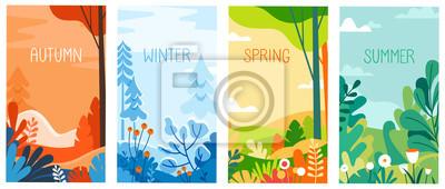Naklejka Seasonal vertical banners for social media stories wallpaper - autumn, winter, spring and summer landscapes