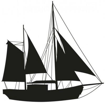 Naklejka Segelboot Segelschiff Silhouette